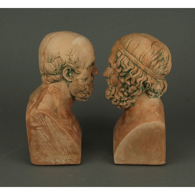 Terracotta Finish Aristotle And Homer Bust Decorative Bookends