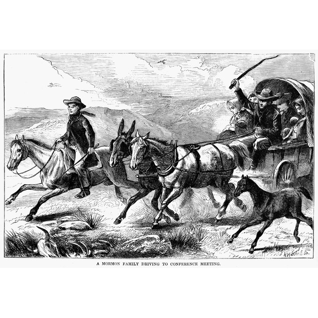 Mormon Family, 1874. /Na Mormon Family Driving To A Conference Meeting. Woo