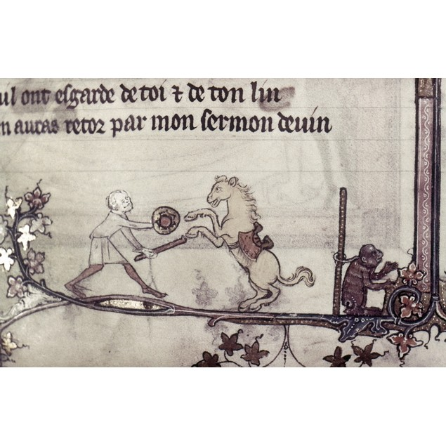 Trained Horse, 14Th Century. /Na Man With A Performing Horse And Ape. Detai