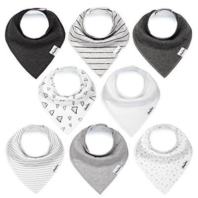 Baby Bandana Bibs for Boys and Girls, Unisex 8 Bib Set with Snaps