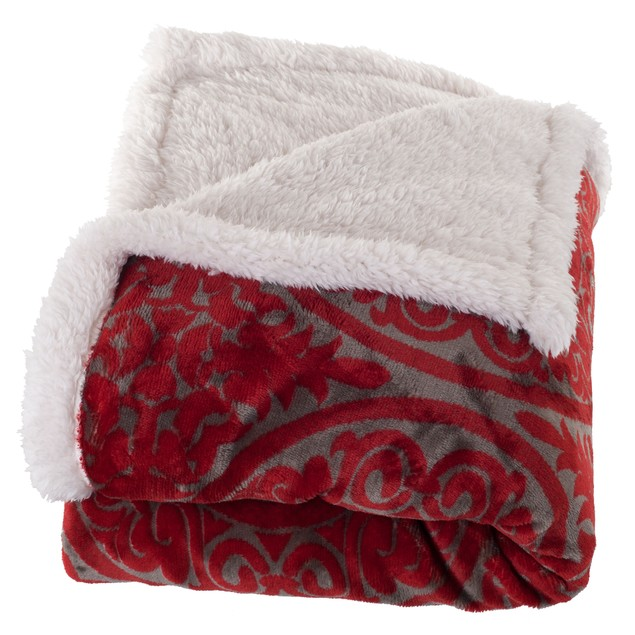 Lavish Home Printed Coral Soft Fleece Sherpa Throw