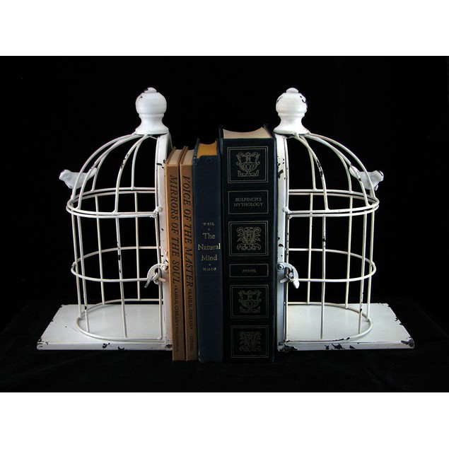 Distressed White Enamel Finish Bird Cage Bookends Decorative Bookends