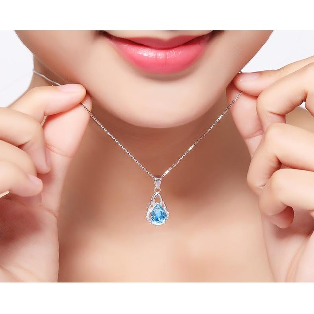 Triple Loop Blue Tear Necklace