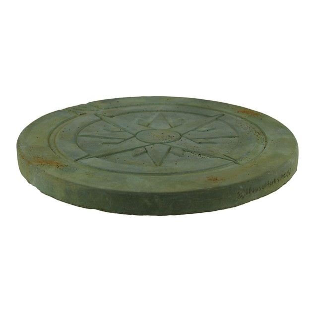 Compass Rose Symbol Green Verdigris Finish Round Stepping Stones