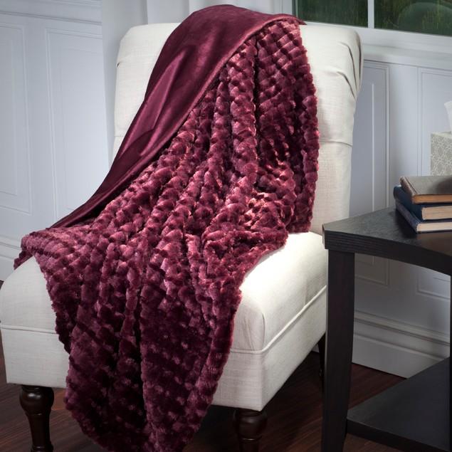 Lavish Home Plush Striped Embossed Faux Fur Mink Throw