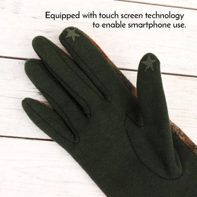 Plaid Button Smart Touch Mitten