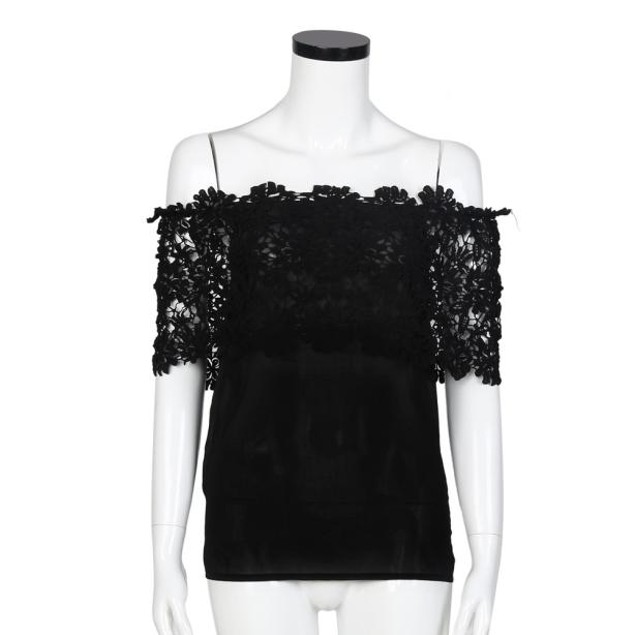Women Off Shoulder Casual Tops Blouse Lace Crochet Chiffon Shirt