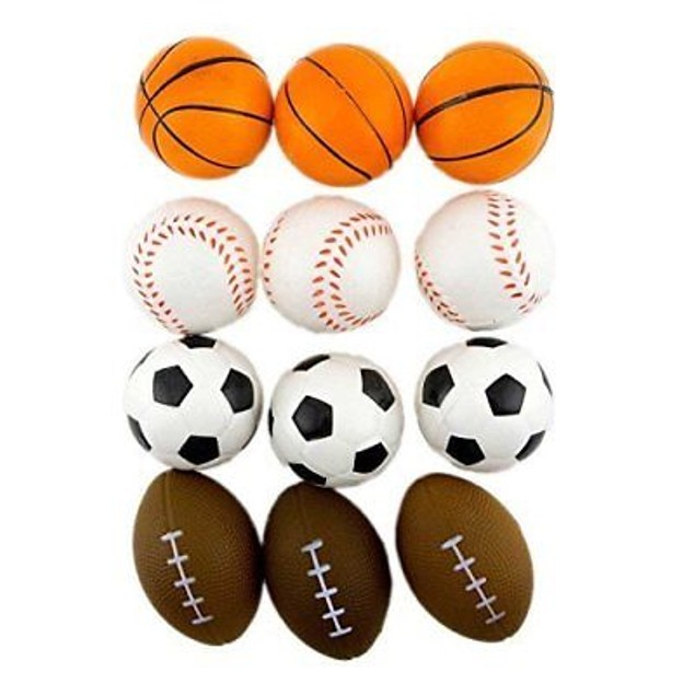 12 Pack Sports Balls Stress Relief Squeeze Therapy