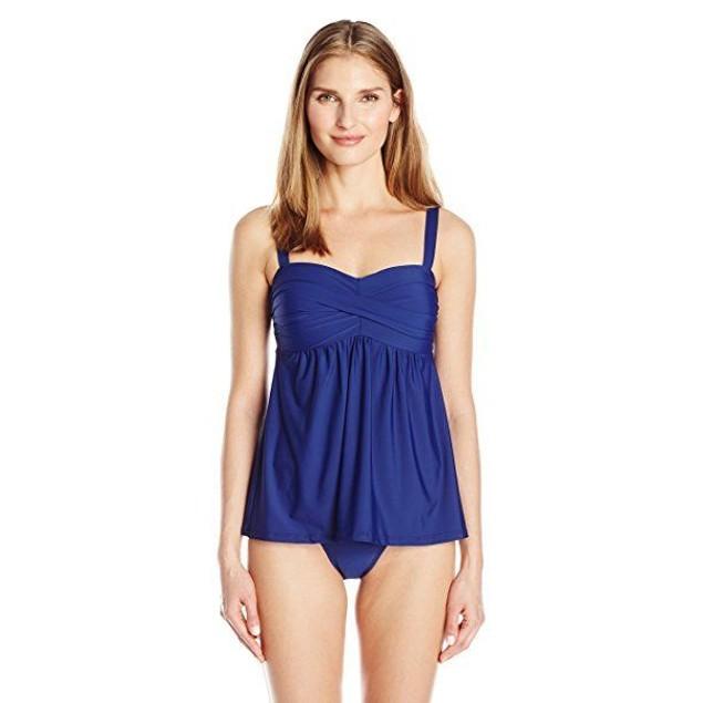 ATHENA Women's Cabana Solids Bandeau One-Piece Swimsuit, Navy, SZ 10