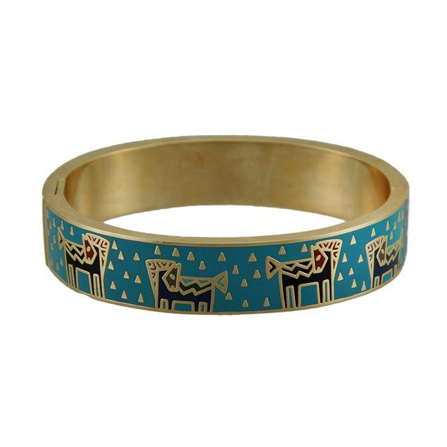Laurel Burch Temple Horse Blue Cloisonne Bangle Womens Bracelets