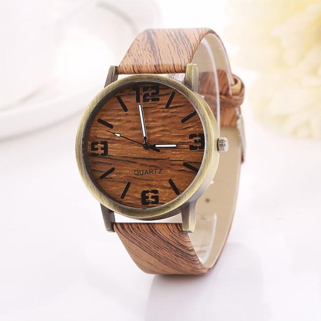 Vintage Wood Grain Women's Quartz Wristwatch