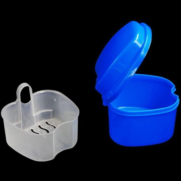 Dental False Teeth Storage Box Case Bath with Hanging Net Container
