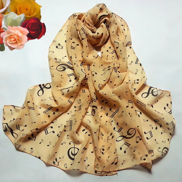 Women Lady Musical Note Chiffon Neck Scarf Shawl Muffler Scarves
