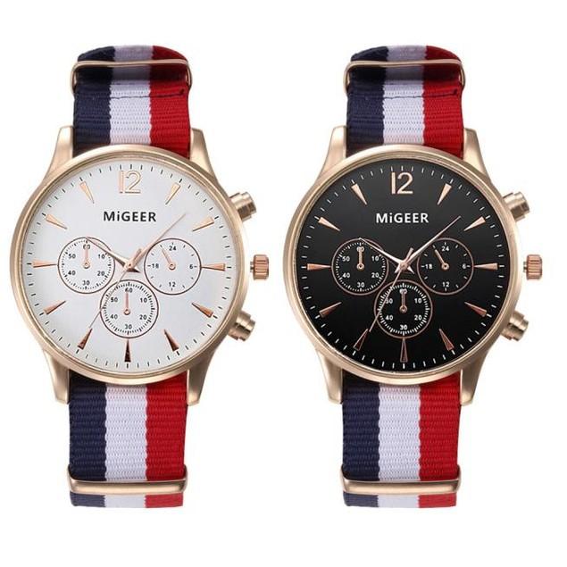 Luxury Fashion Canvas Mens Analog Watch Wrist Watches