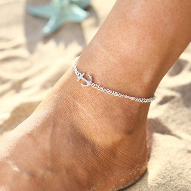 Boho Lady Double Layers Anchor Barefoot Sandal Foot Anklet Ankle Bracelet
