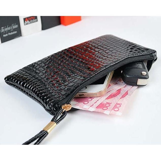 Women Crocodile Leather Clutch Handbag Bag Coin Purse