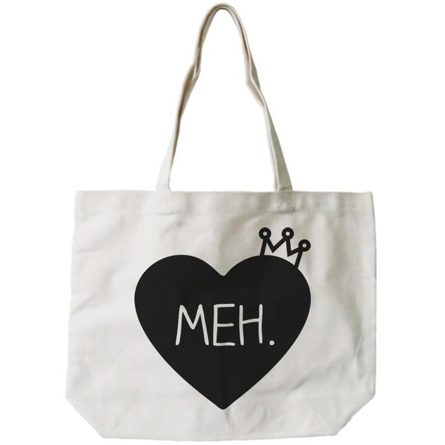 Meh. Princess Crown Natural Canvas Tote Bag
