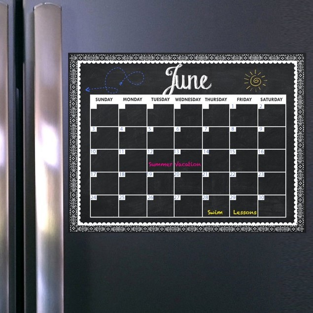 Magnetic Dry Erase Calendar + 2 Markers