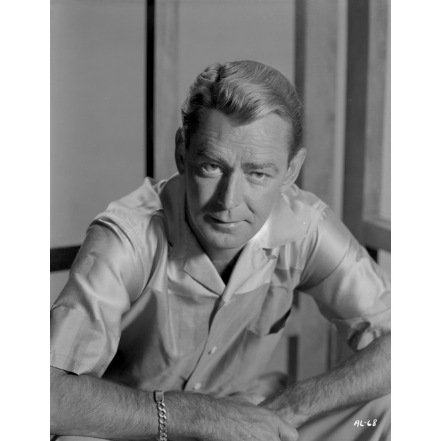 Alan Ladd sitting and Facing Right in Black and White Portrait Poster