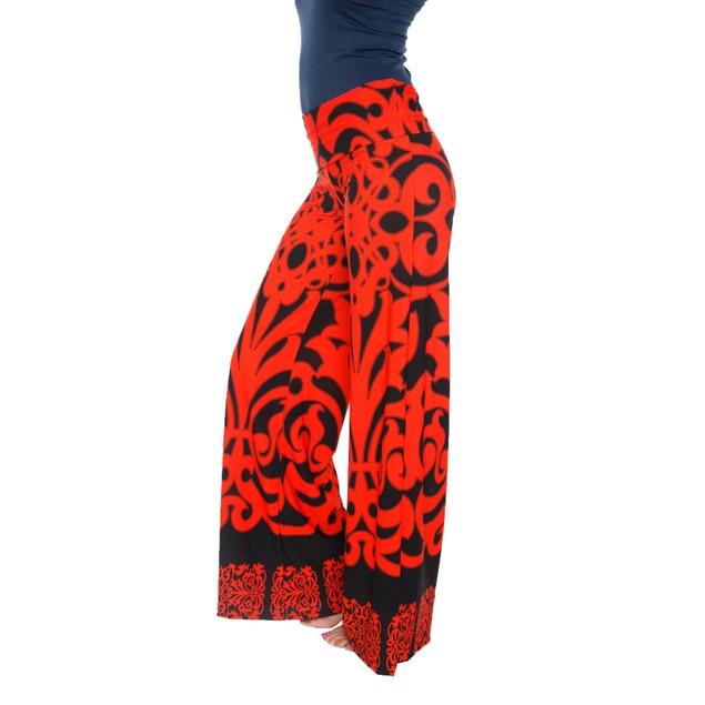 Printed Palazzo Pants - Orange Black