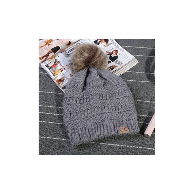 C.C Cable Knit Fur Pom Beanie (7 Colors)