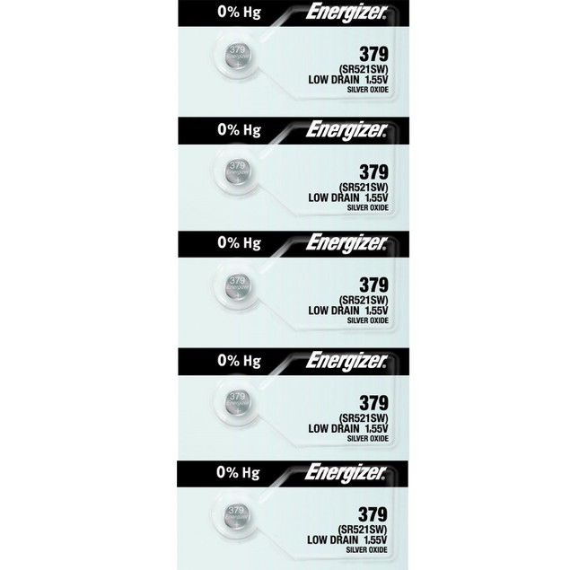 Energizer 379 (SR521SW) Silver Oxide Watch Batteries (5 Pack)