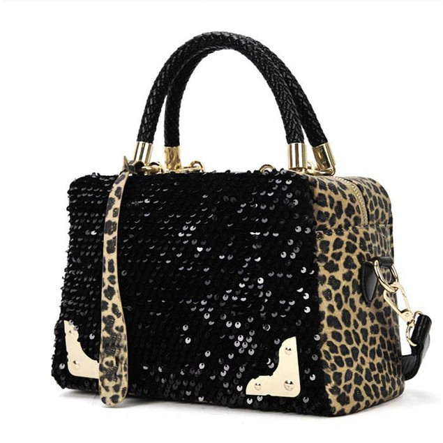 Women's Sequin Leopard Print Purse