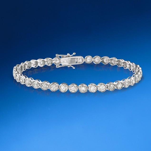 925 Sterling Silver Round Bezel  Setting Cubic Zircon Tennis Bracelet
