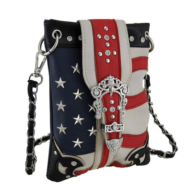 American Flag Inspired Rhinestone Buckle Crossbody Womens Cross Body Bags