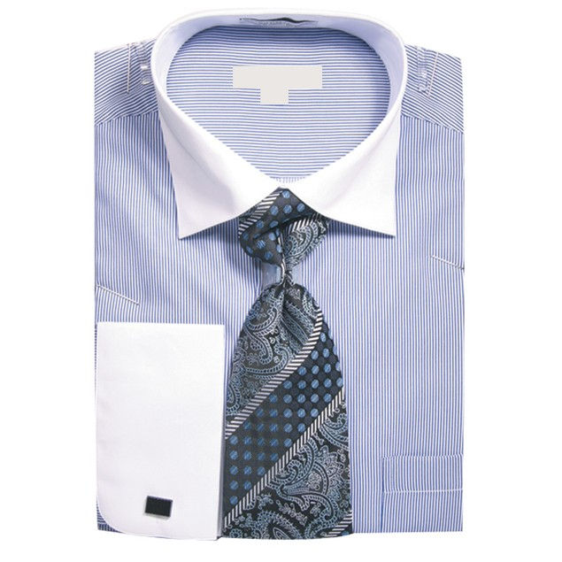Men's Pin Stripe Dress Shirt w Tie Hanky Cufflinks