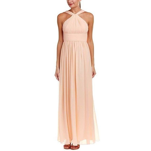 Donna Morgan Women's Halter with Pleats Apricot Dress