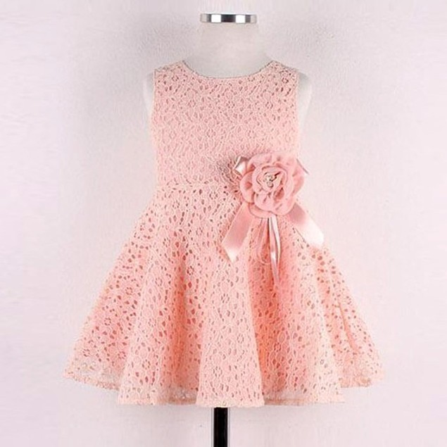 Girls Kids Full Lace Floral One Piece Dress Child Princess Party Dress
