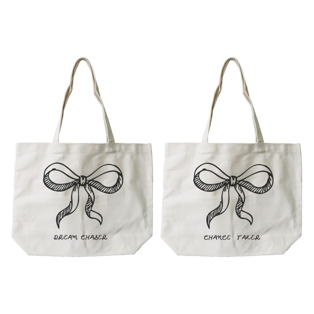 Best Friend Matching Natural Canvas Tote Bag