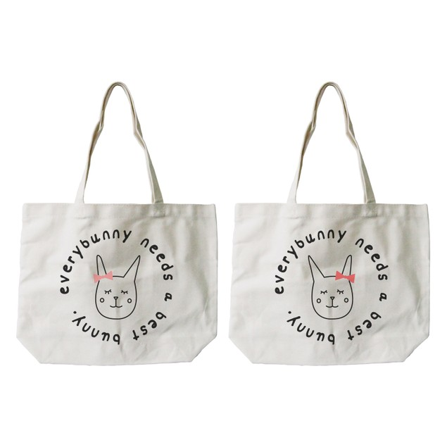 Everybunny Needs a Best Bunny Canvas Tote Bag Natural