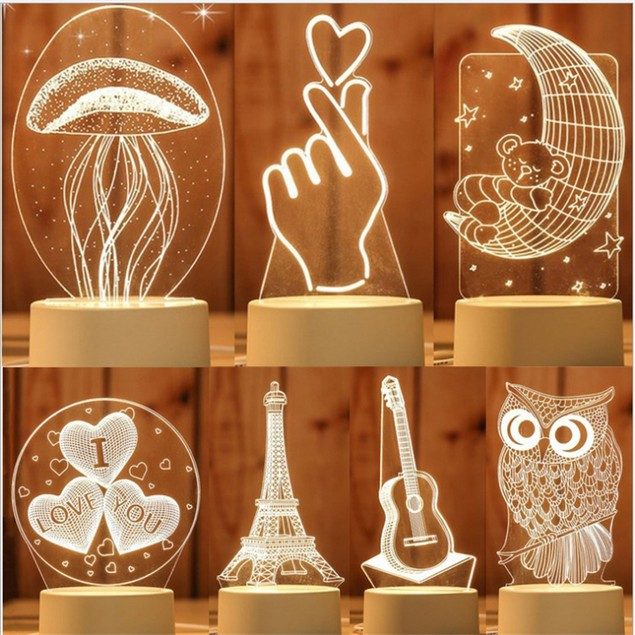 Christmas Novelty Acrylic Gradient 3D Desk Lamp