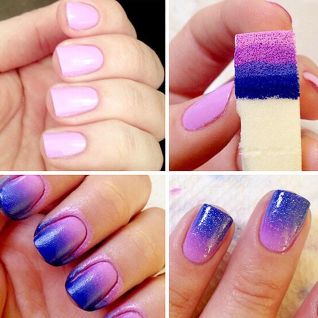 8PCS Nail Art Sponges Stamping Polish Template Transfer Manicure