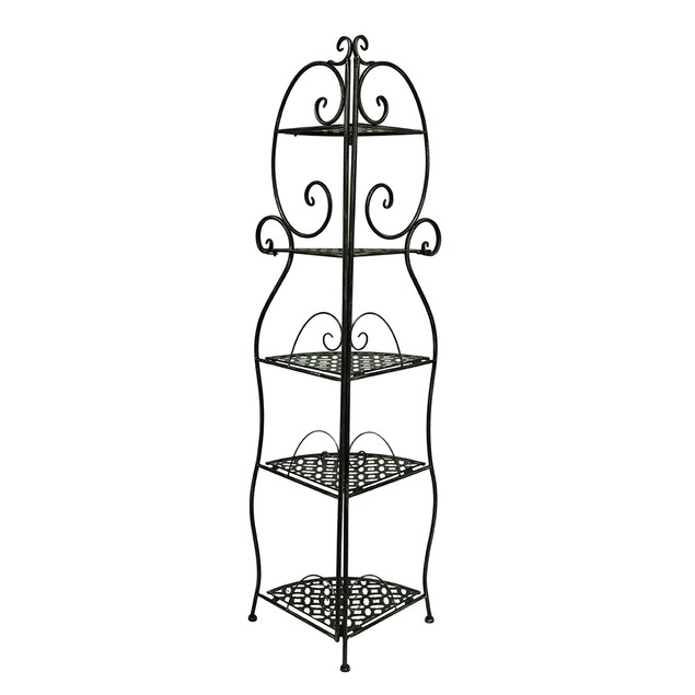 5 Tier Filigree Design Distressed Black Finish Accent Tables