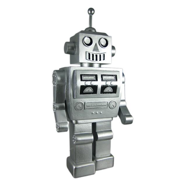 Metallic Silver 1960S Robot Piggy Bank Coin Money Toy Banks