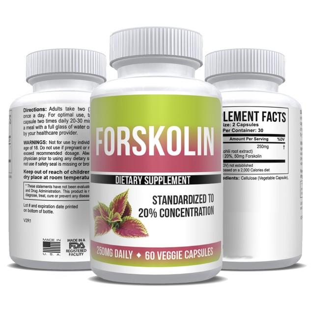 Pure Forskolin Extract 20% Standardized  Max Strength - 1 Month Supply