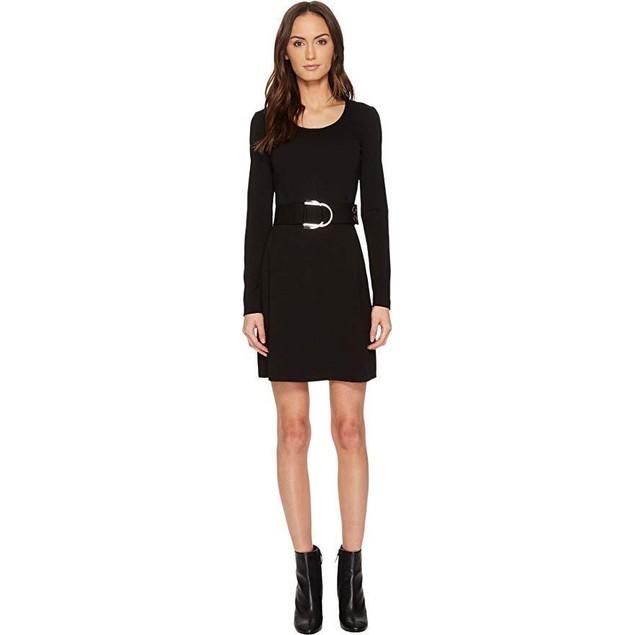 Versace Jeans Women's Long Sleeve Scoop Neck Belted Dress Nero  Sz:  4