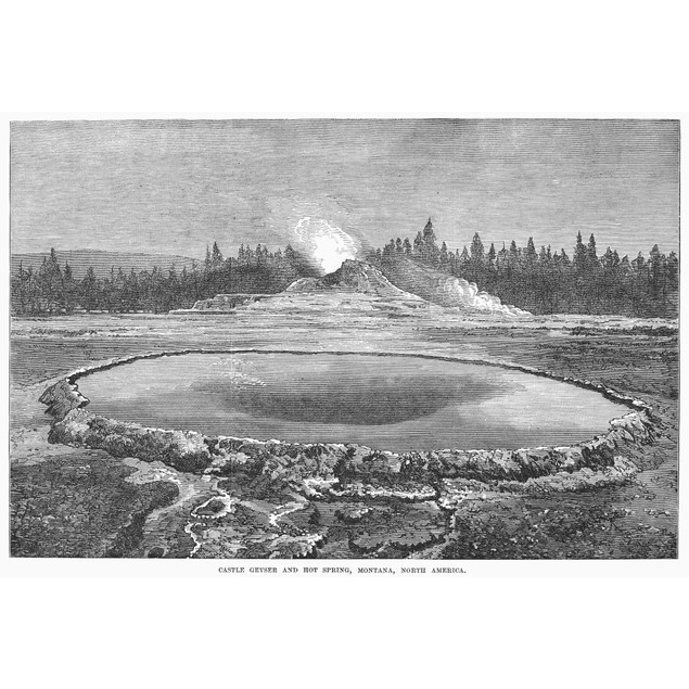 Yellowstone Park: Geyser. /Nthe Castle Geyser And Hot Spring In Yellowstone