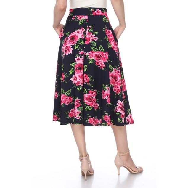 Flared Floral Print Midi Skirt - 11 Colors