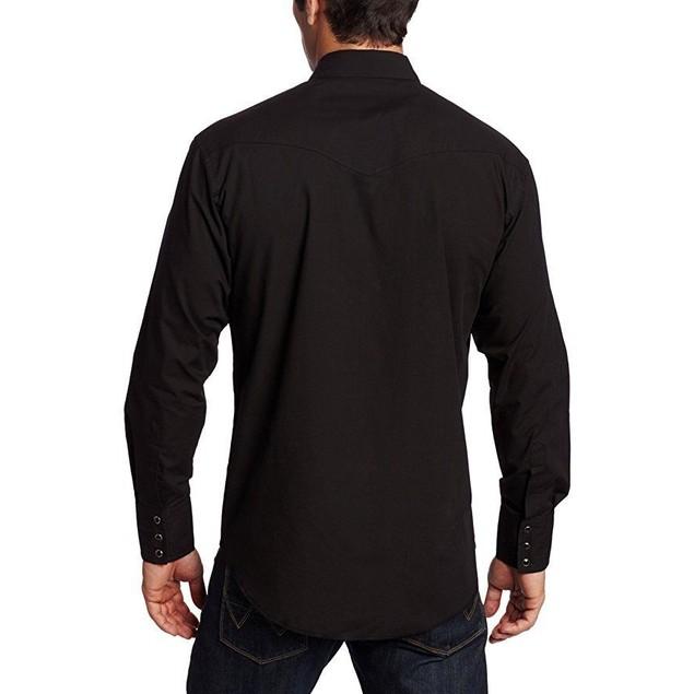 Wrangler Men's Sport Western Snap Shirt,Black, SZ X-Large