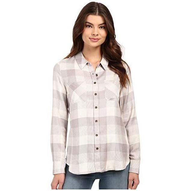 Brigitte Bailey Women's Tonal Plaid Shirt Grey Combo Blouse MD