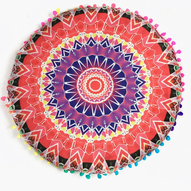 Indian Mandala Floor Pillows Round Bohemian Cushions Pillows Cover Case