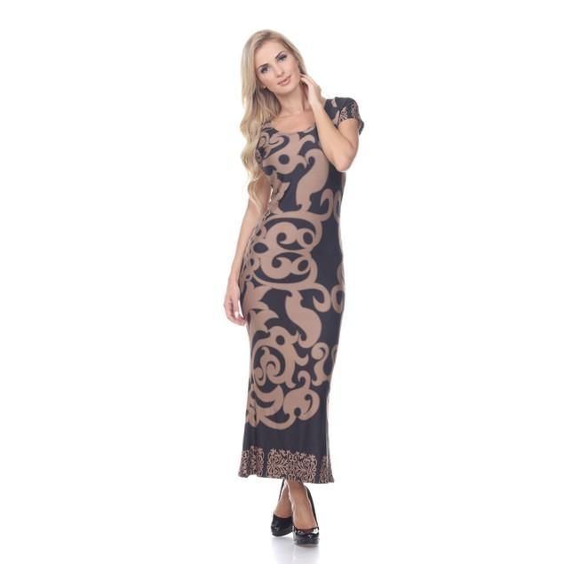 Raven Maxi Dress - Beige Black