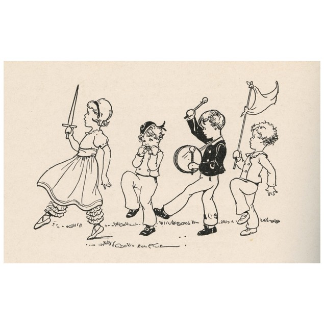 Four children have a parade.  A girl leads with a sword aloft, a boy plays