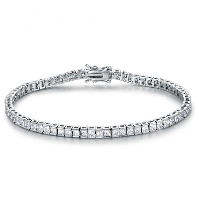 925 Sterling Silver Square Princess Cut Shape Cubic Zircon Tennis Bracelet