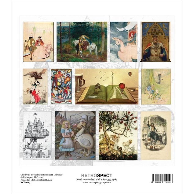Childrens Book Illustrations Easel Calendar, Literature by Retrospect Group