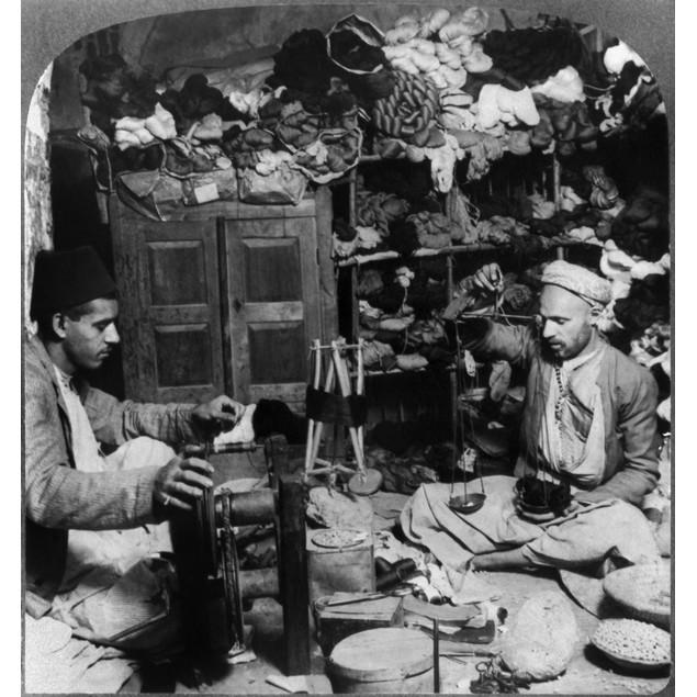 Syria: Silk Store, C1914. /N'Winding And Weighting Silk In An Oriental Silk